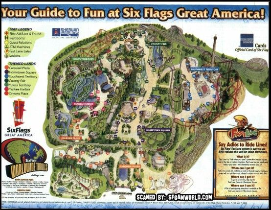 Six Flags Great America Park Map Great America Six Flags America