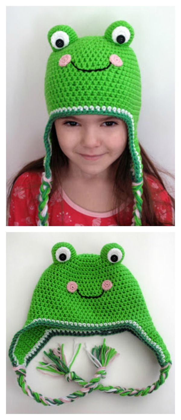 Frog Hat Free Knitting Crochet Patterns | Häkeln, Häkeln baby und ...