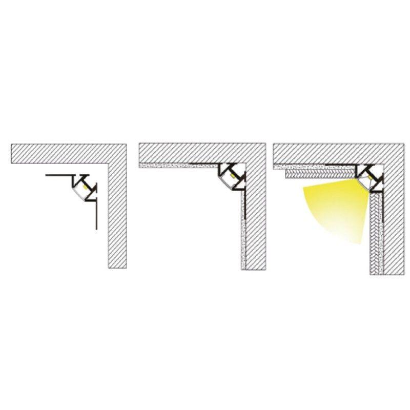 Led Profile Recessed Tile Internal Corner For Led Strip Aluminium Led Channel C W Clip In Diffuser End Caps Led Strip Lighting Led Strip Led