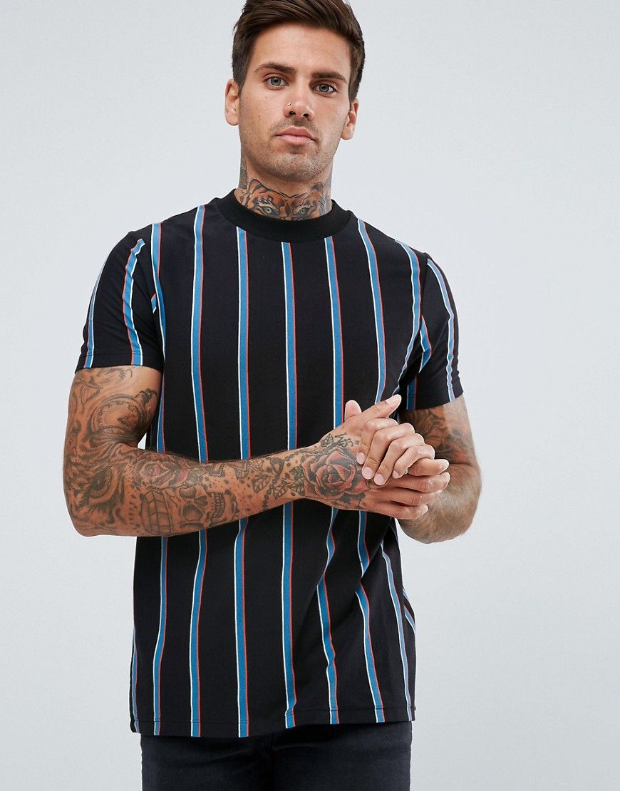 4f01ddbf0 ASOS T-Shirt With Vertical Bright Stripe - Black | Hot style men ...