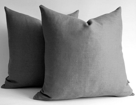 1 piece linen pillow covers dark gray