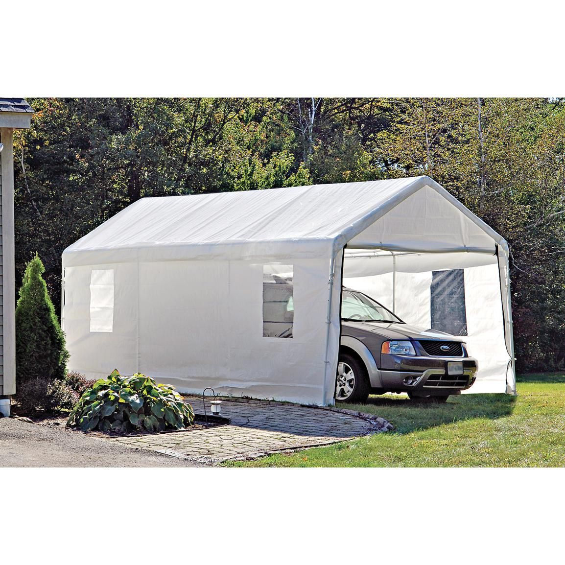 10x20 Instant Garage Shelter White 117083 Garage Car Shelters At Sportsman S Guide Portable Carport Portable Garage Carport Canopy