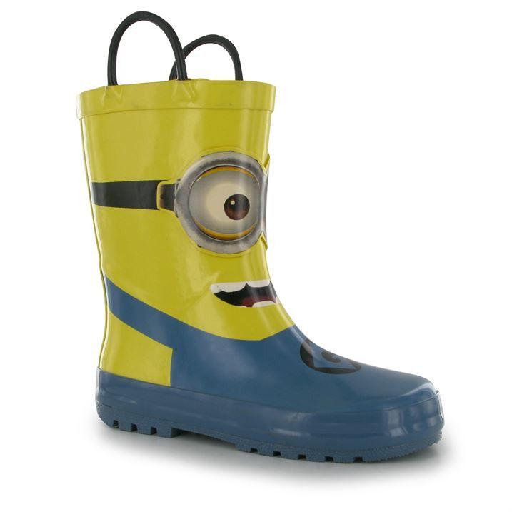 Infant Minions Blue Rubber Wellington Boots Kids Waterproof Despicable Wellie