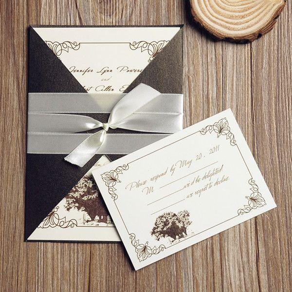 Neutral Rustic Vintage Affordable Pocket Wedding Invitation Ewpi106 Vintage Wedding Invitation Cards Inexpensive Wedding Invitations Wedding Invitations
