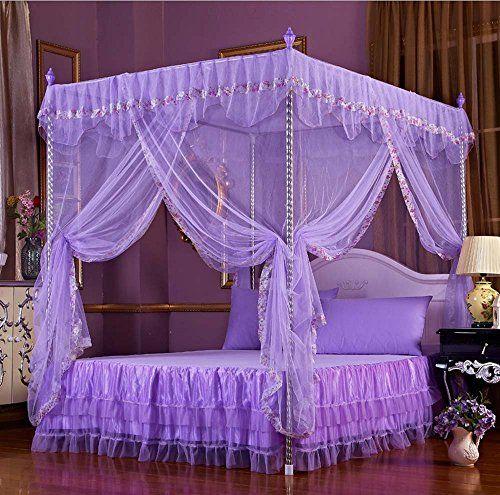 Nattey Flowers 4 Corners Princess Bedding Curtain Canopy ...