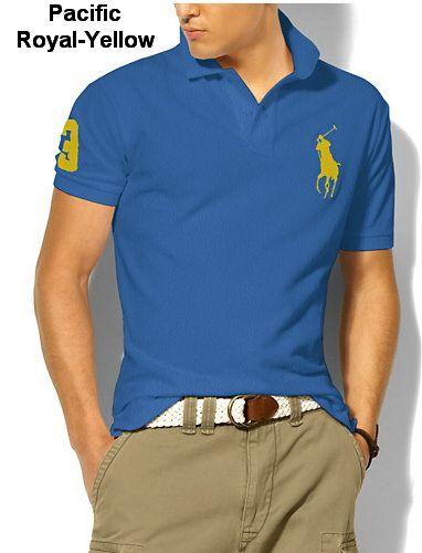 Ralph Lauren Men Classic-Fit Big Pony Polo Blue Yellow