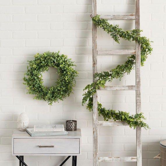 Photo of Beautiful Year Round Faux Boxwood Eucalyptus Wreath and Garland Set – Wedding Faux Garland & Wreath