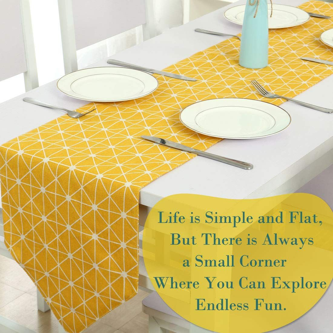 Uxcell Cotton Woven Table Runner Tablecloth 12 X 71 Yellow Furniture Runner Home Wedding Banquet Party Dining R Dining Room Decor Yellow Furniture Home Wedding