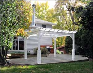 10 X 12 Vinyl Deluxe 4 Beam Pergola Shown With 36 High Post Trim And 16 Top Runner Spacing Pergola Patio Landscaping Pergola Plans
