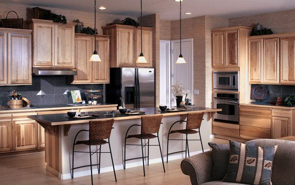 Contemporary Kitchen Hickory Cabinets Different Height Pendant Lights Hickory Kitchen Cabinets Kitchen Bar Design Kitchen Layout