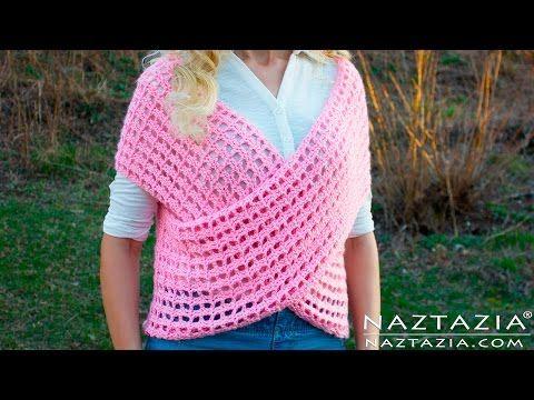 DIY Tutorial - Crochet Wrap Sweater Vest - Criss Cross Wrapped Front ...