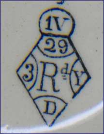 Pottery - Registration numbers and diamond   Pottery