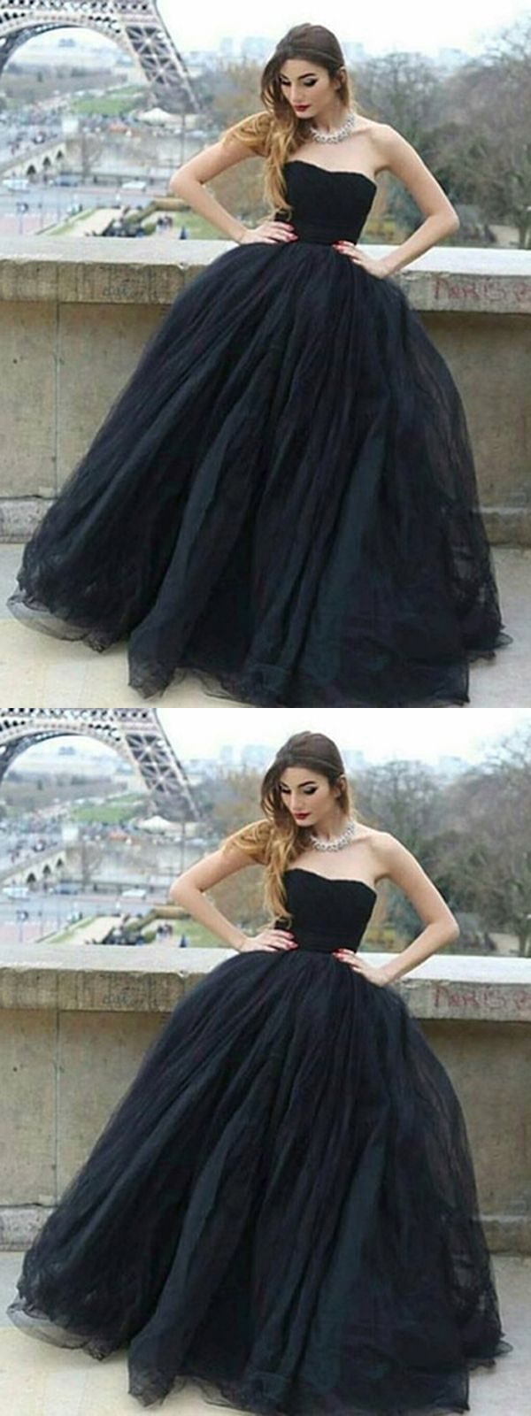 black long prom dress ball gown simple modest strapless cheap