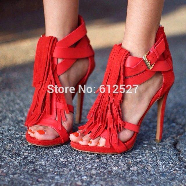 0d361d9a9a08 Pas cher Incroyable hot rouge croix buckle strap sandales belle frange  haute talon chaussures de mariage gland pompes prix pas cher livraison  gratuite US ...