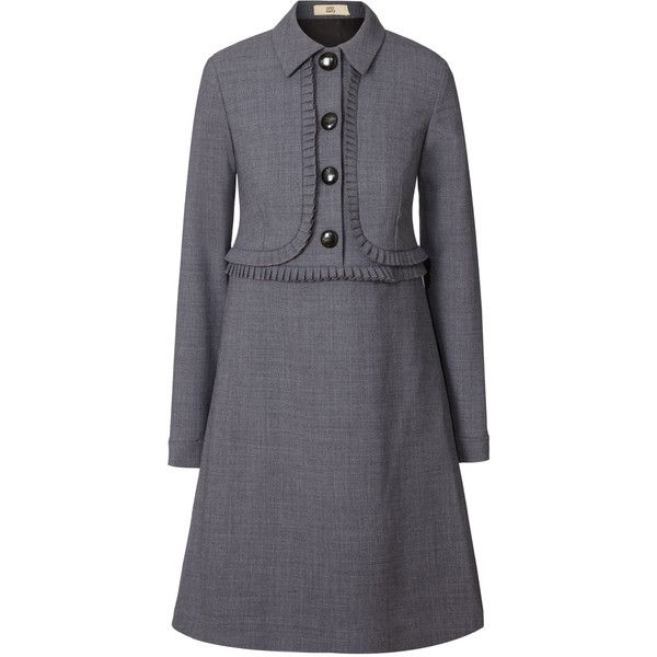 Orla Kiely Wool Blend Suiting Pleated Tunic (3.450 ARS) ❤ liked on Polyvore featuring dresses, grey, grey melange, orla kiely and tunic