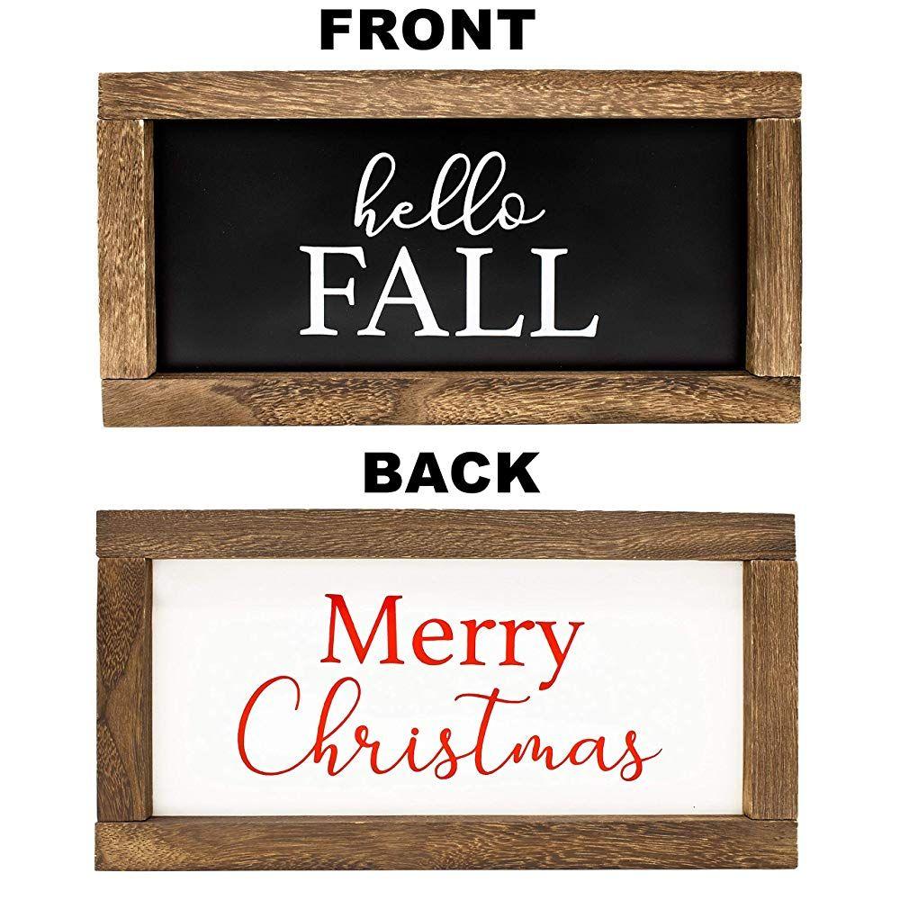 Cam N Honey Reversible Hello Fall/Merry Christmas Rustic