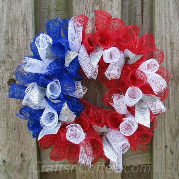 summertime salute a mesh ribbon wreath in red white and blue