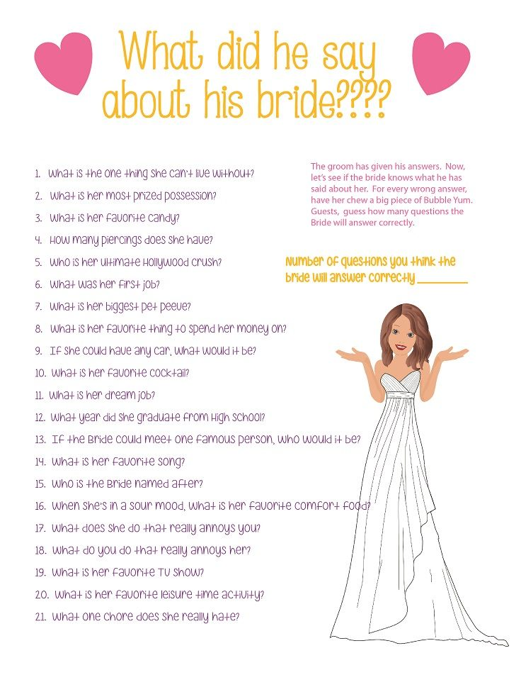 Bridal Shower How Well Does The Groom Know Bride Printable