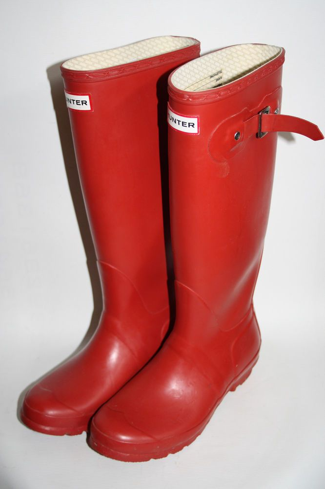 HUNTER Women's Original Tall Red Wellington Boots Outdoor Festival Wellies  UK5