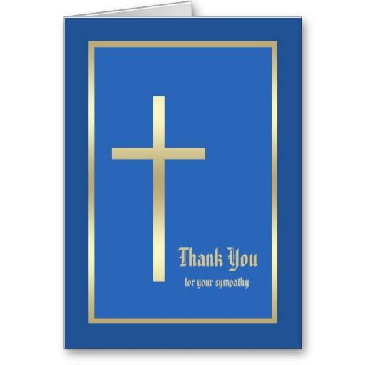 Religious Sympathy Thank You Note Card  Blue  Funeral Thank You