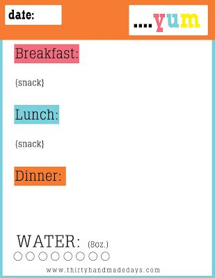 free printable food journal