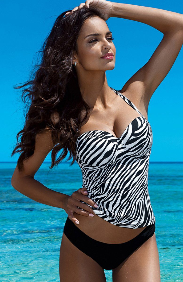 dcd56193e5a21e Lorin L5018/6 kostium kąpielowy Piękne tankini, góra w czarno-białą zeberkę,  usztywniane piankowe miseczki