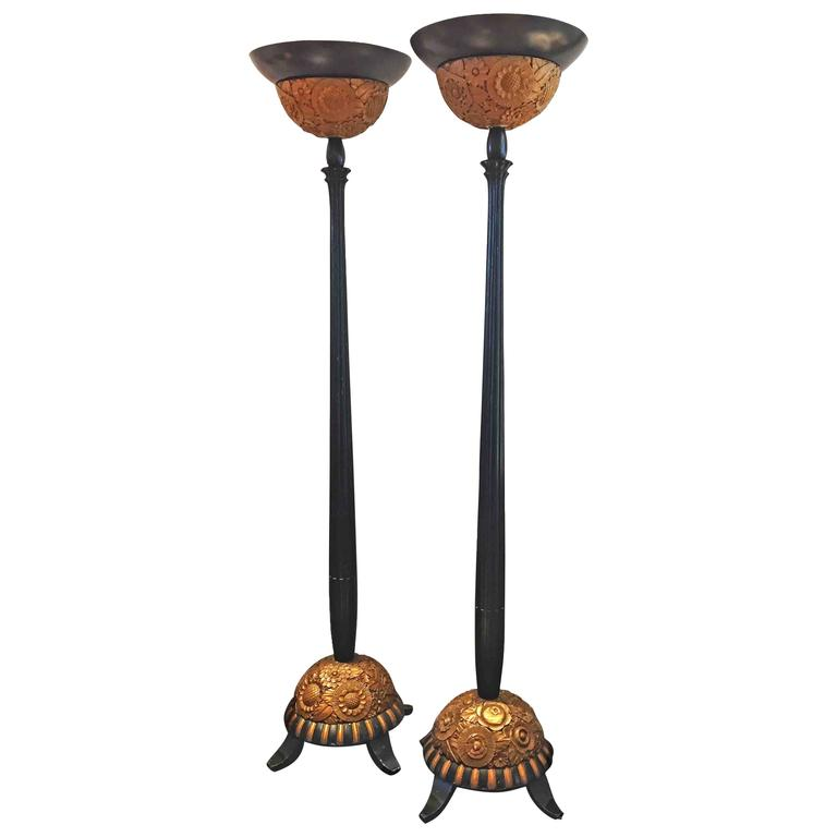 Art Deco Floor Lamp Prepossessing Pair Of Black And Gold Art Deco Floor Lamps Featuring Carved Decorating Inspiration