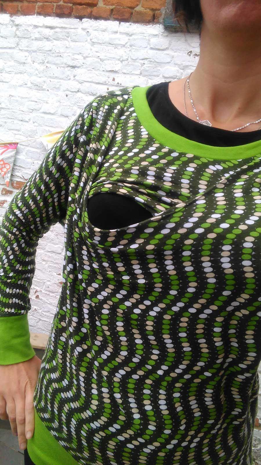 Julia for breastfeeding mums part 2 , Dit is een andere versie om de Julia om te vormen tot een borstvoedingstrui. Deze keer knipte ik 2 maal een voorpand met diepe kraag. Het onderste vo...  #contest2015 #Juliasweater #patternhack Check more at https://compagnie-m.com/blog/julia-for-breastfeeding-mums-part-2/