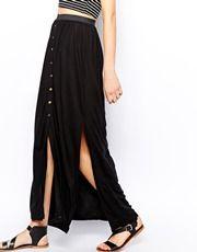 Warehouse Button Front Maxi Skirt