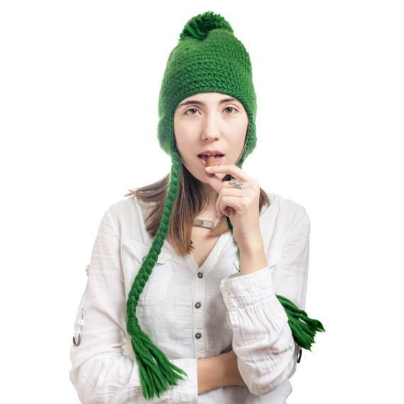 40943b2e713 Hand-Knit Super Soft Bobble Hat From Luxurious Green Chunky Merino Wool! Merino  Hat Non Itchy Hat Ch