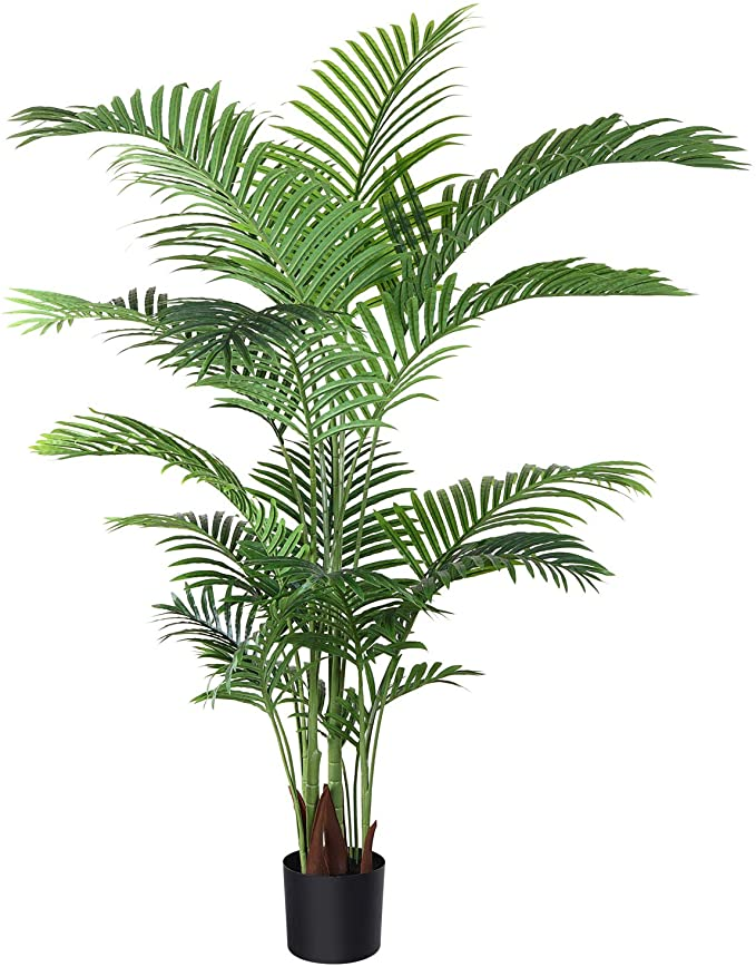 Amazon Com Fopamtri Artificial Areca Palm Plant 5 Feet Fake Palm Tree With 17 Trunks Faux Tree For Indoor Outdoor Modern Fake Palm Tree Potted Trees Faux Tree