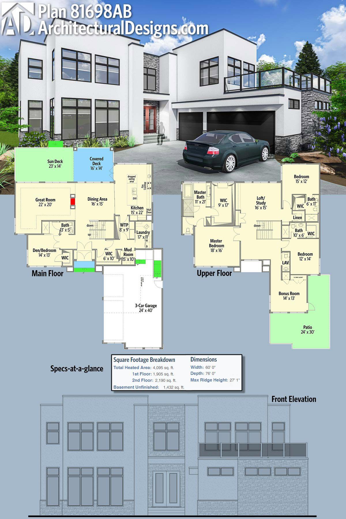 Plan 81698ab Stunning Modern House Plan Modern House Plan Modern House Plans Modern House Design