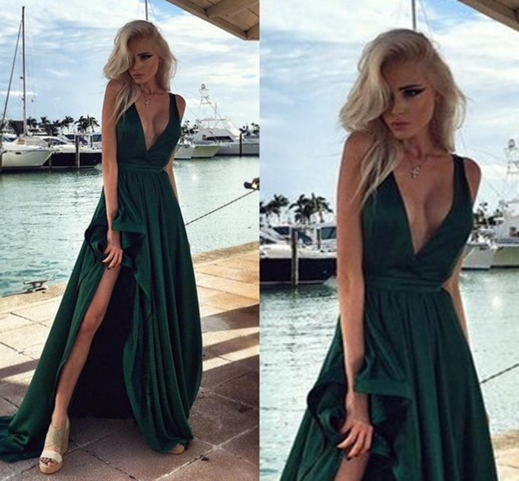 Hunter green elegant long prom dresses side split v neck backless