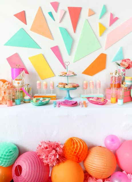 Decorate It A Colorful Dessert Table A Kailo Chic Life Diy Kids Party Decorations Colorful Desserts Colorful Party Decorations