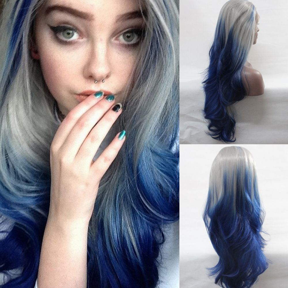 Image Result For Ombre Blue Dark Roots Long Straight Lace