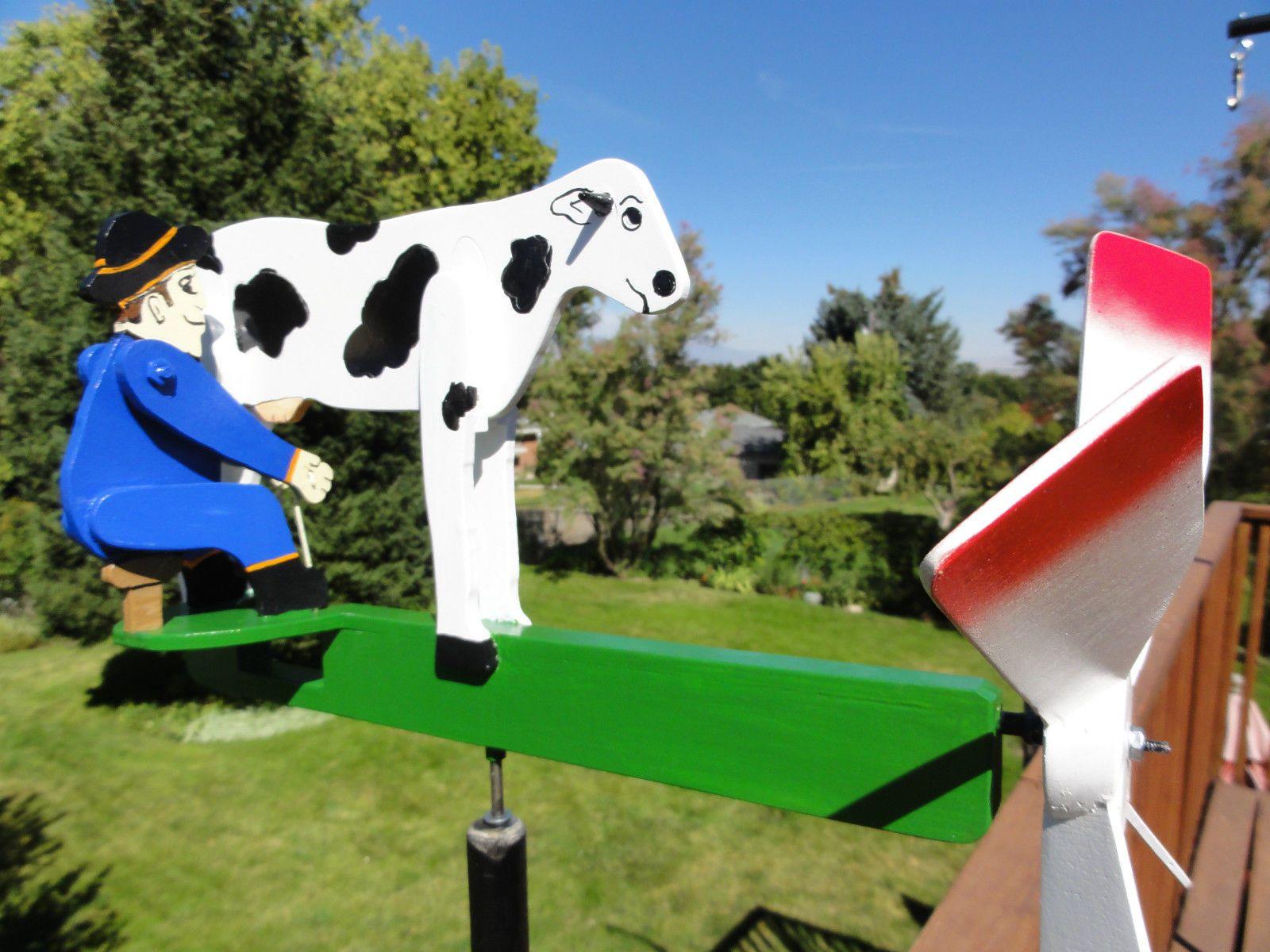 Handcrafted Whirligig Garden Decor COW MILKER, Outdoor Wind Spinner ...