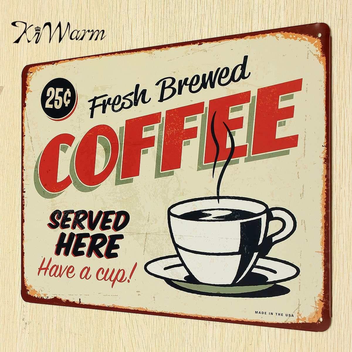 Vintage Tin Coffee Sign Nana S Fittins Home Decor Vintage Tin Signs Cafe Sign Vintage Metal Signs