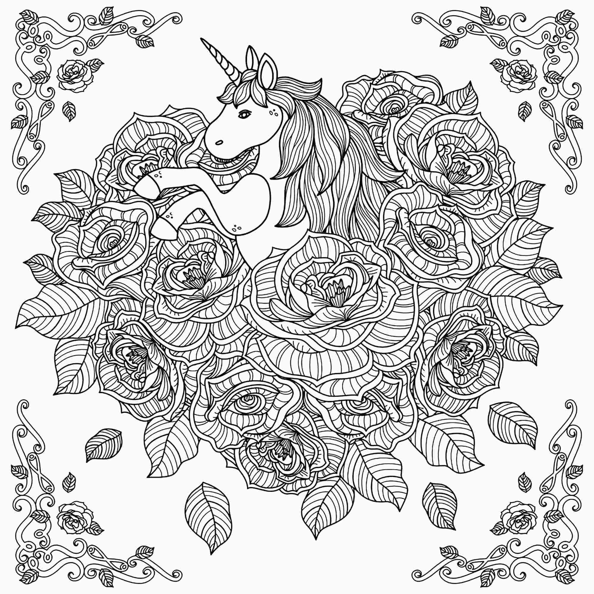 Rose Unicorn Mandala Coloring Pages Unicorn Mandala Unicorns Adult