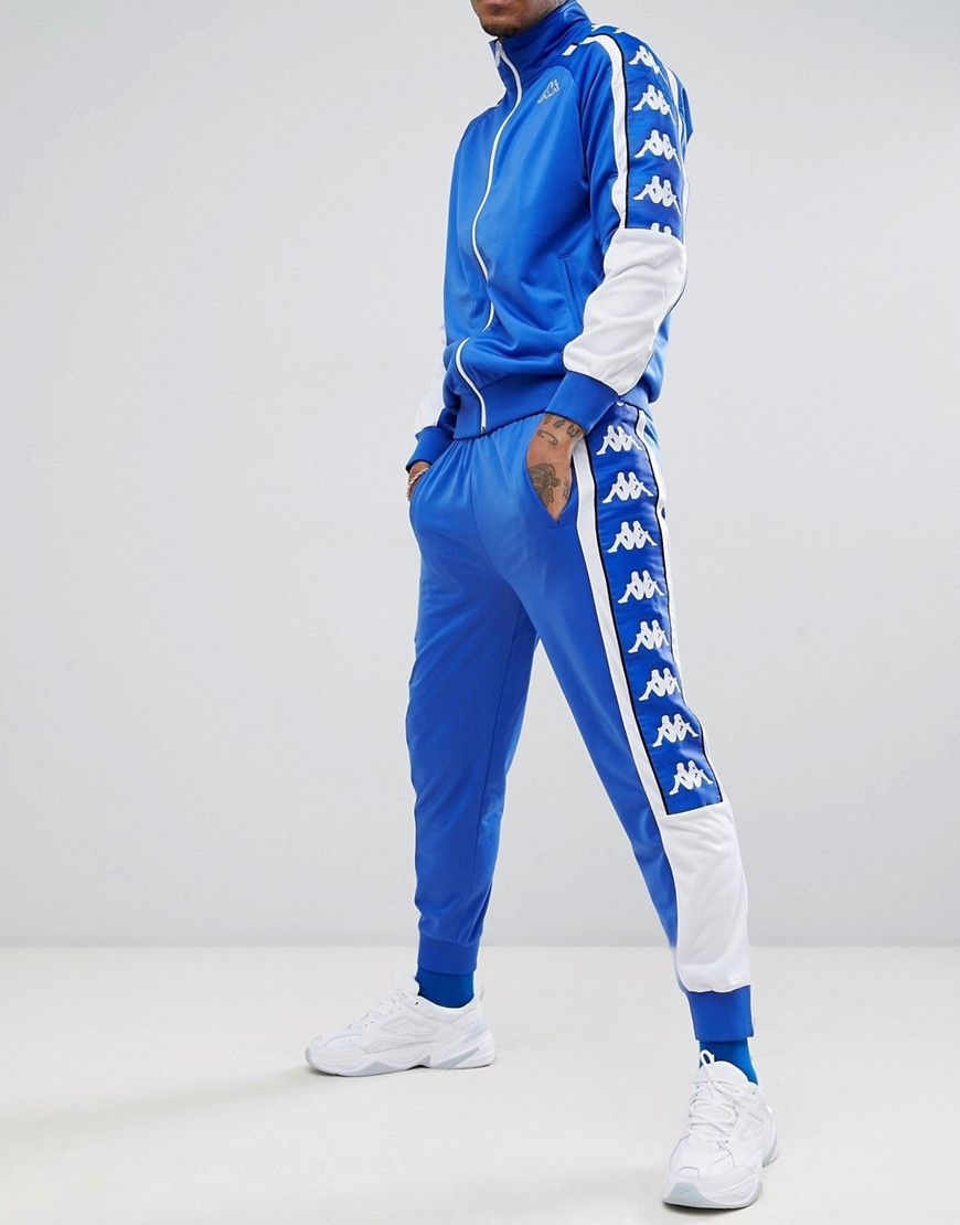 8d193ca4 KAPPA JOGGERS WITH LARGE LOGO TAPING IN BLUE - BLUE. #kappa #cloth ...