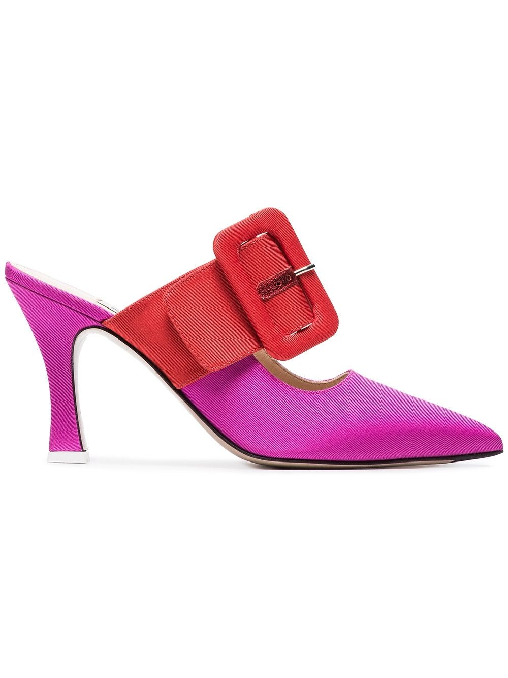 21be4727 Attico – Bi Color Large Buckle Mule in Red and Fuchsia   Kirna ...
