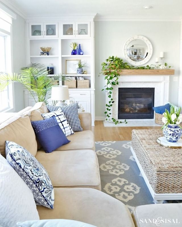 Photo of Navy and Neutral Fall Living Room + Kitchen Tour – Sand and Sisal