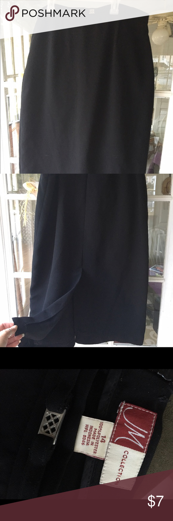 Ladies black skirt Comfortable ladies black mid calf length skirt. Bought second hand and wore once. Kick pleat in the back. True sizing and machine washable. JM Skirts Maxi