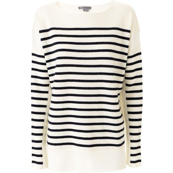 Vince Offwhite Navy Stripes Pullover (1.480 BRL) ❤ liked on Polyvore featuring tops, sweaters, shirts, pullover, navy blue sweater, navy blue cashmere sweater, stripe shirt, cashmere sweater and navy striped shirt