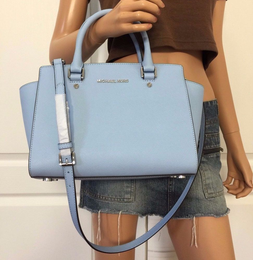 362973ffa23c Michael Kors Selma Saffiano Leather Medium Satchel Tote Bag Purse Light Blue