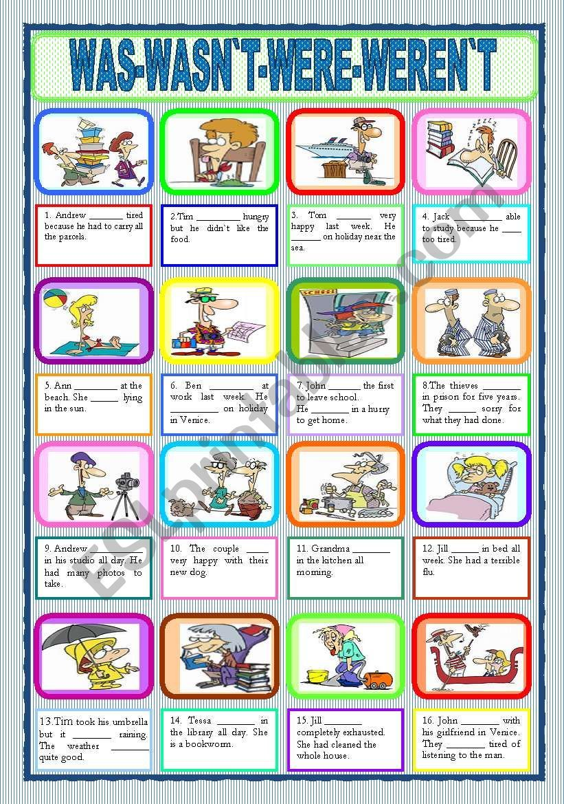 Students Must Complete The Gaps With Was Wasn T Were Weren T Hope It S Useful Have A Nice Sunday Esl Worksheets Grammar Worksheets Worksheets [ 1169 x 821 Pixel ]