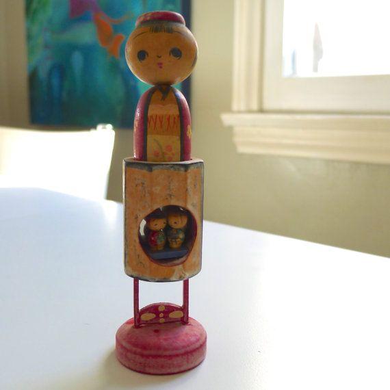 Japanese Vintage Kokeshi bobble head doll signed by NeNeandSeSe