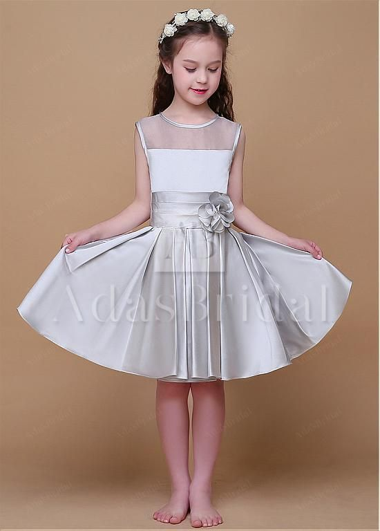 21a1f3a9201 Fabulous Organza   Satin Scoop Neckline A-Line Flower Girl Dresses With  Handmade Flower. Wonderful Satin  amp  Tulle ...