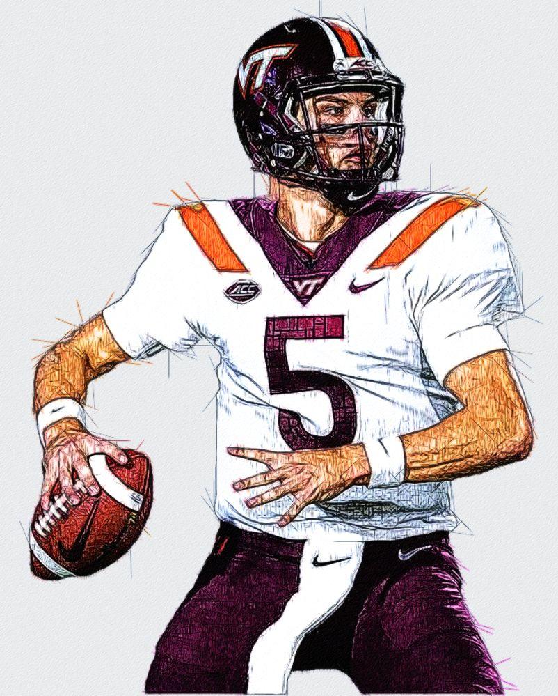 Ryan Willis Virginia Tech QB Football illustration