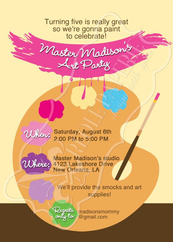 art/paint party birthday party invitation paint by creolepaperie, Birthday invitations