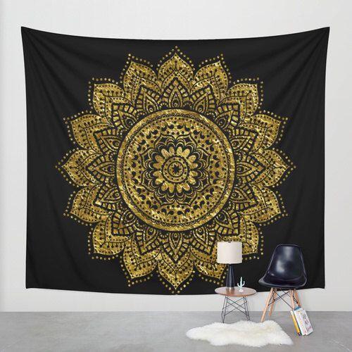 Black And Gold Mandala Wall Tapestry Black Gold Mandala